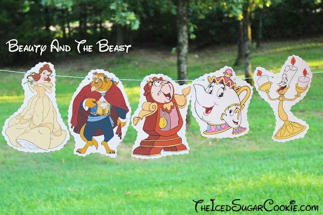 Beauty And Beast Birthday Party Banner DIY Ideas- Belle, Beast, Cogsworth Clock, Mrs Potts and Chip, Lumiere Candlestick