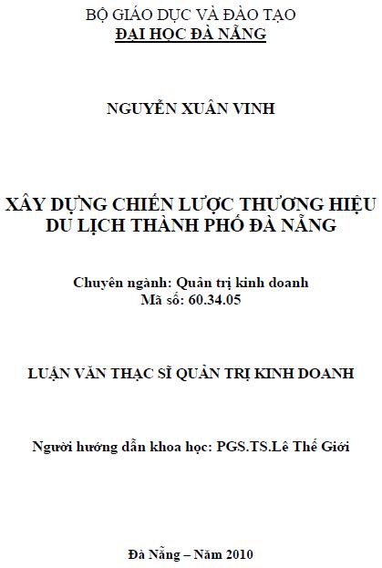 Xây dựng chiến lược thương hiệu du lịch thành phố Đà Nẵng