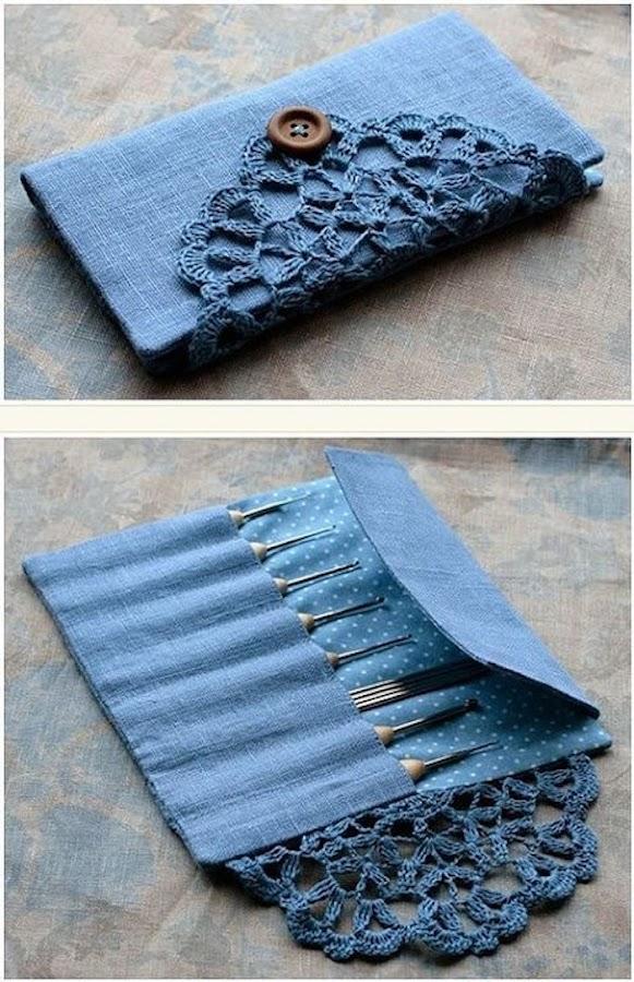 bolso de manicura con tela vaquera y ganchillo
