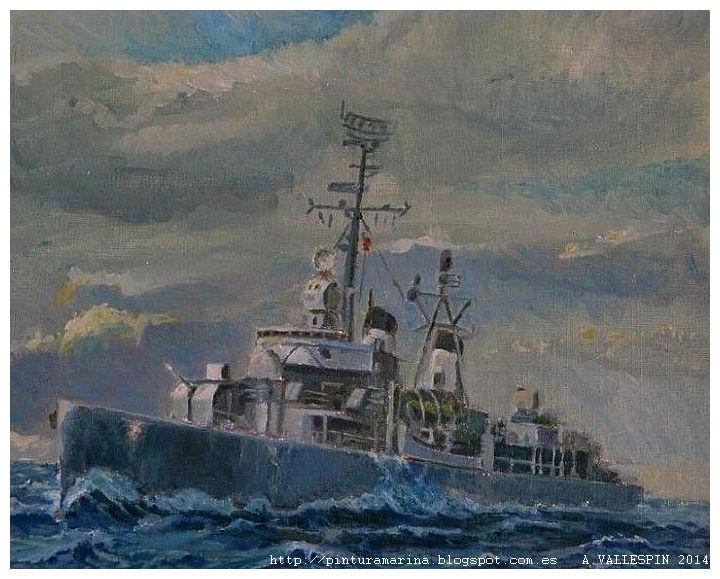 Pintura al oleo del destructor Jorge Juan