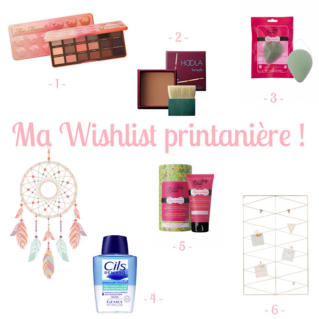 Ma Wishlist printanière Too Faced Sweet Peach Bronzer Hoola Benefit Eponge Konjac Lady Green Cils Demasq Gemey Maybelline Masque purifiant Maison du monde