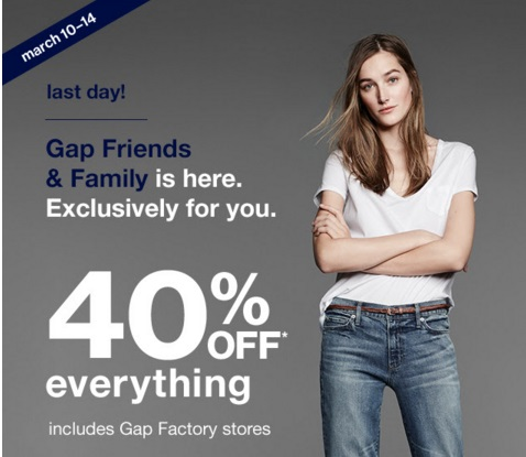 Gap 40% Off Friends & Family Event Promo Code