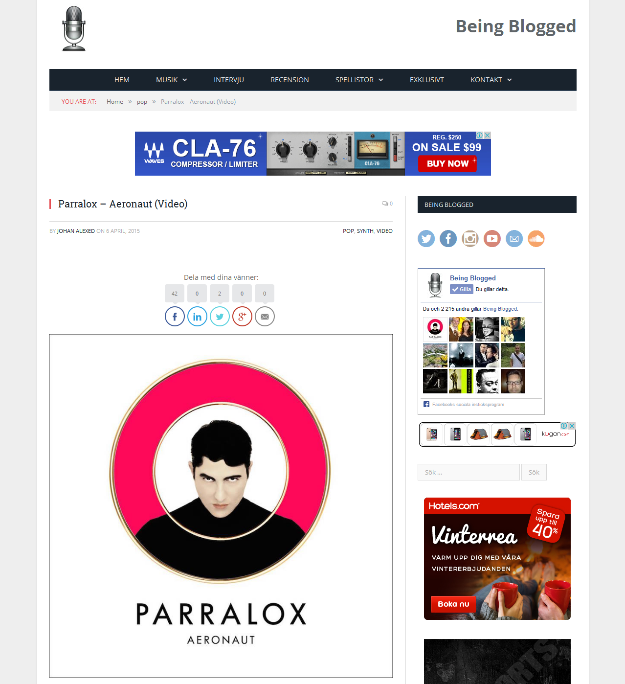 Being Blogged (Sweden) article on Aeronaut
