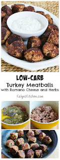 Low-Carb Turkey Meatballs with Romano Cheese and Herbs found on KalynsKitchen.com