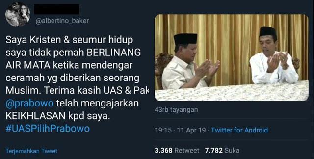 Non Muslim pun Ikut Tersentuh dengan Pesan dan Doa UAS untuk Prabowo
