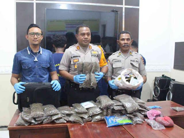 Polres Jayapura Kota Bekuk Pengedar Ganja dari KM Dobonsolo