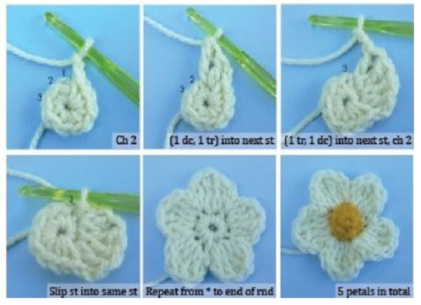 Patron Crochet Flor 5 Petalos