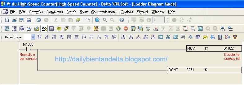 Chương trình PLC Delta đọc xung Encoder