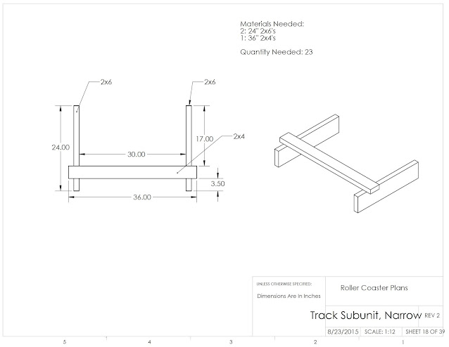 dimensioned engineering drawing with parts list and requested quantity to build