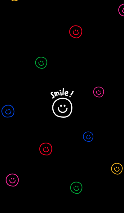 colorful smiling faces. (black)