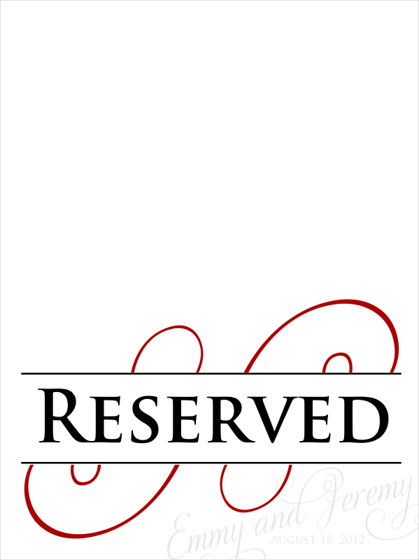 Signatures by sarah wedding stationery for emmy for Reserved seating signs template