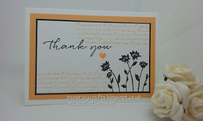 Paperjay Crafts, Background Bits Peekaboo Peach Thank You Card
