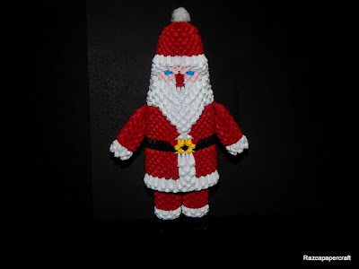 3D Origami Santa Claus on black background