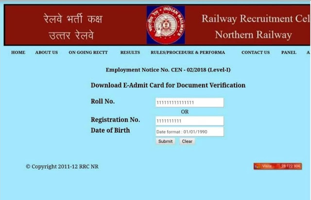 Group D: Railway Document Verification Admit Card Out (Chandigarh Zone)