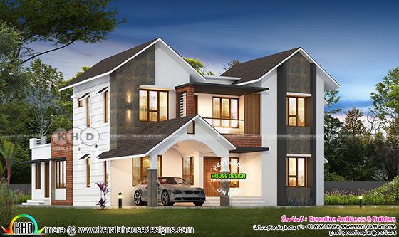 2777 square feet 4 bedroom sloped roof contemporary home