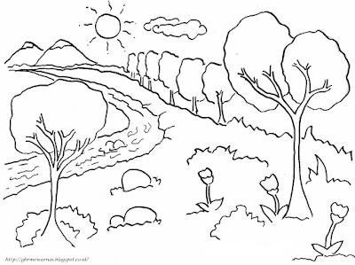 Gambar Mewarnai Pemandangan Hutan Dan Sungai Untuk Anak Tk Dan Sd