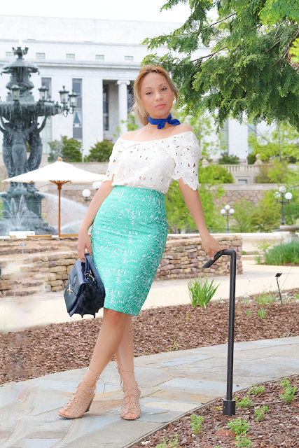 Green lace midi skirt | off the shoulder top