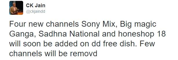 Four New TV Channels Won Slot on DD Freedish - DD Direct DTH