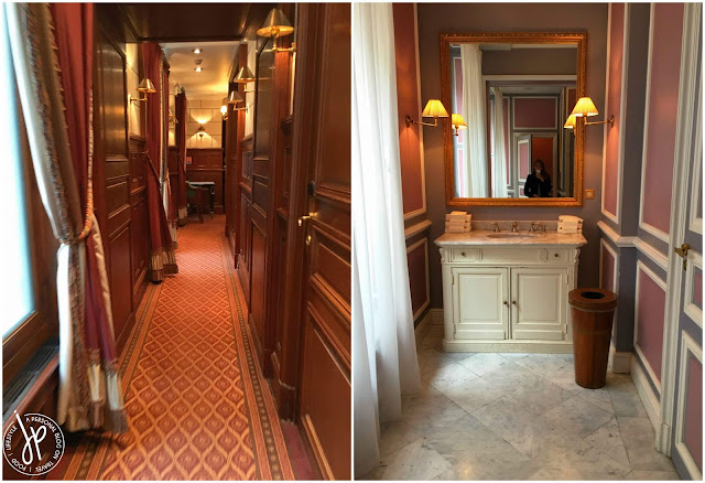 ornate hallway and bathroom