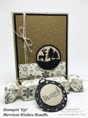 Deer Medallion card and popper box with Merriest Wishes Bundle from Stampin' Up! by Kay Kalthoff at Stamping to Share.