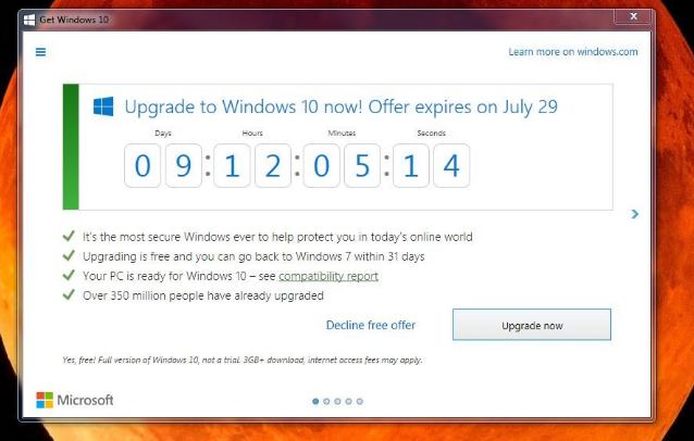 """L'App """"Ottieni Windows 10"""" mostra il conto alla rovescia alla fine dell'offerta gratuita"""