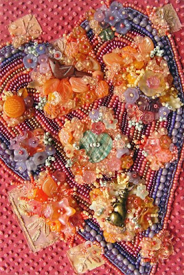 bead embroidery by Robin Atkins, beaded vlaentine