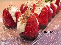 Fresas rellenas de mascarpone y aromatizada Grand Marnier