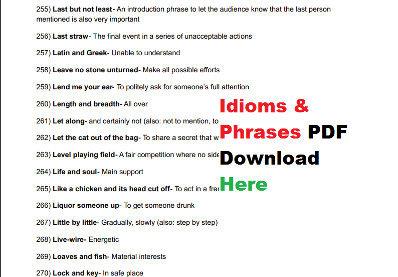 300 Idioms And Phrases Pdf Download Here Ssc Khabar