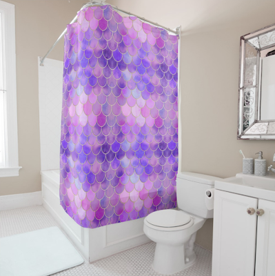 Ultra Violet Mermaid Scales Shower Curtain
