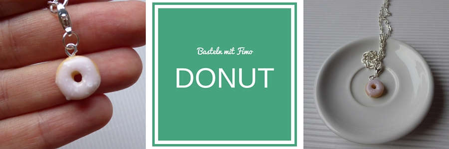 Schmuck Anhänger aus Fimo, Donut, rosa