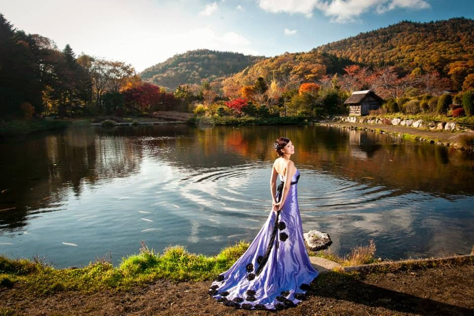 purple gown and lake