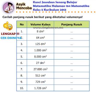Kunci Jawaban Senang Belajar Matematika Halaman 164 Matematika Kelas 5 Kurikulum 2013 www.simplenews.me