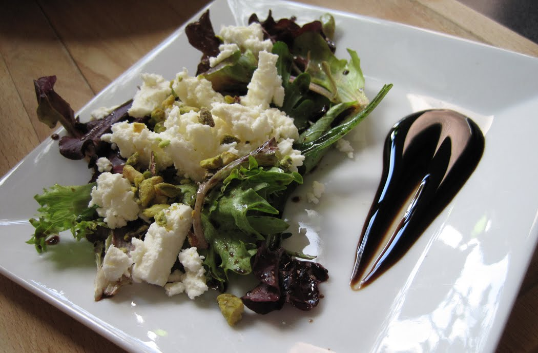 Feta Pistachios and Leaves with Balsamic and Honey Dressing