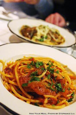 Bucatini Amitriciana: Pork Cheek Sauce, Grilled Onions, Tomato at Briciola