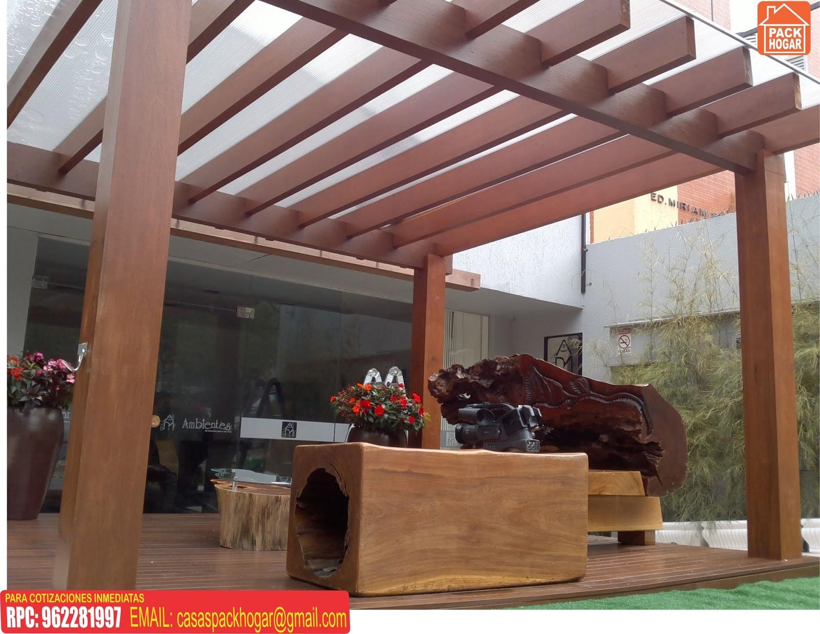 Techos sol y sombra de madera packhogar for Disenos de terrazas de madera