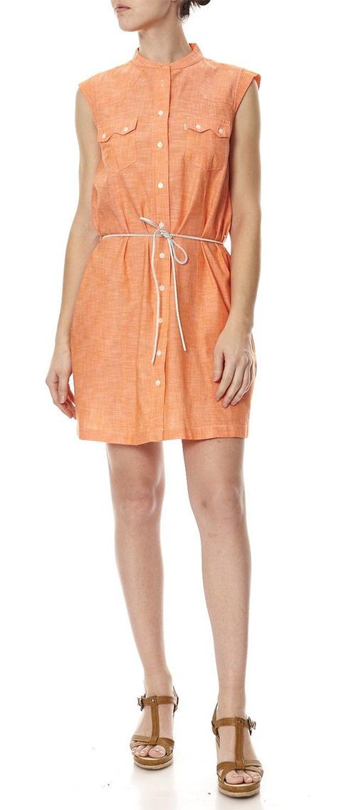 Robe chemise courte orange Levi's sans manches