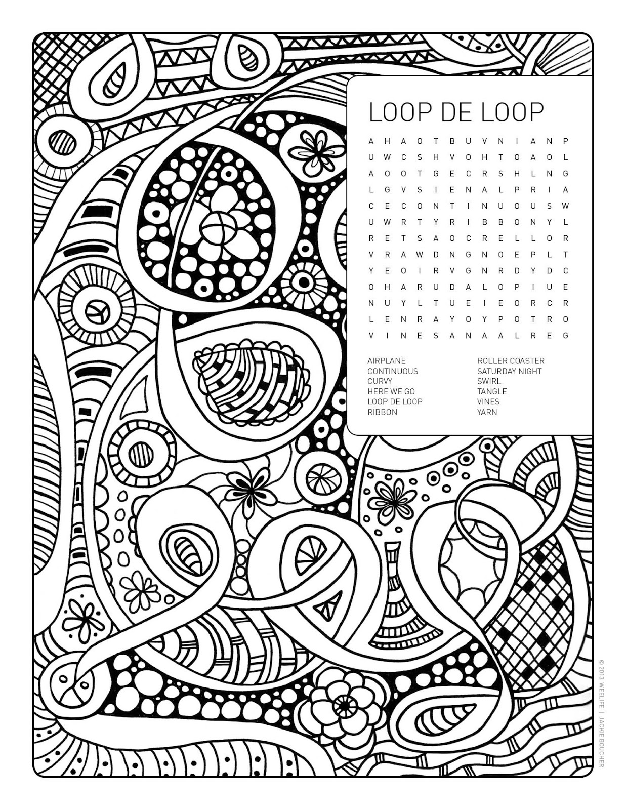 Weelife Word Search Colouring Page Loopdeloop