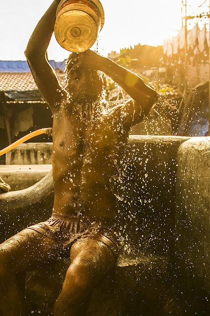 Golden bathing boy in Mumbai!