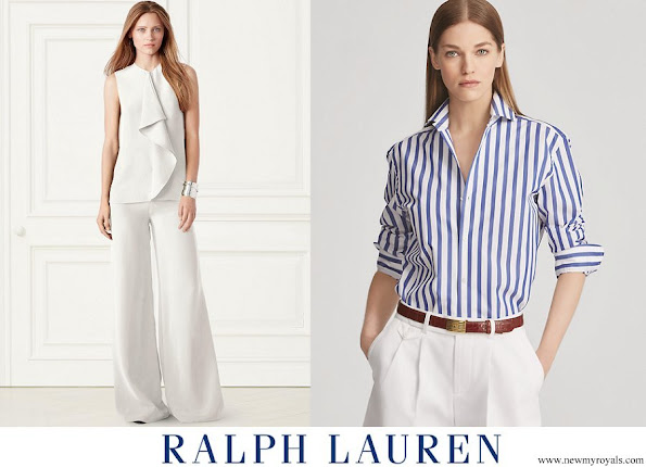 Meghan Markle wore Ralph Lauren Striped Cotton Shirt and Charmain Silk Wide leg Pant