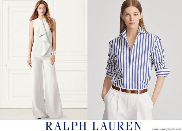 Meghan Markle wore Ralph Lauren Striped Cotton Shirt and Charmain Silk Wide leg Pant