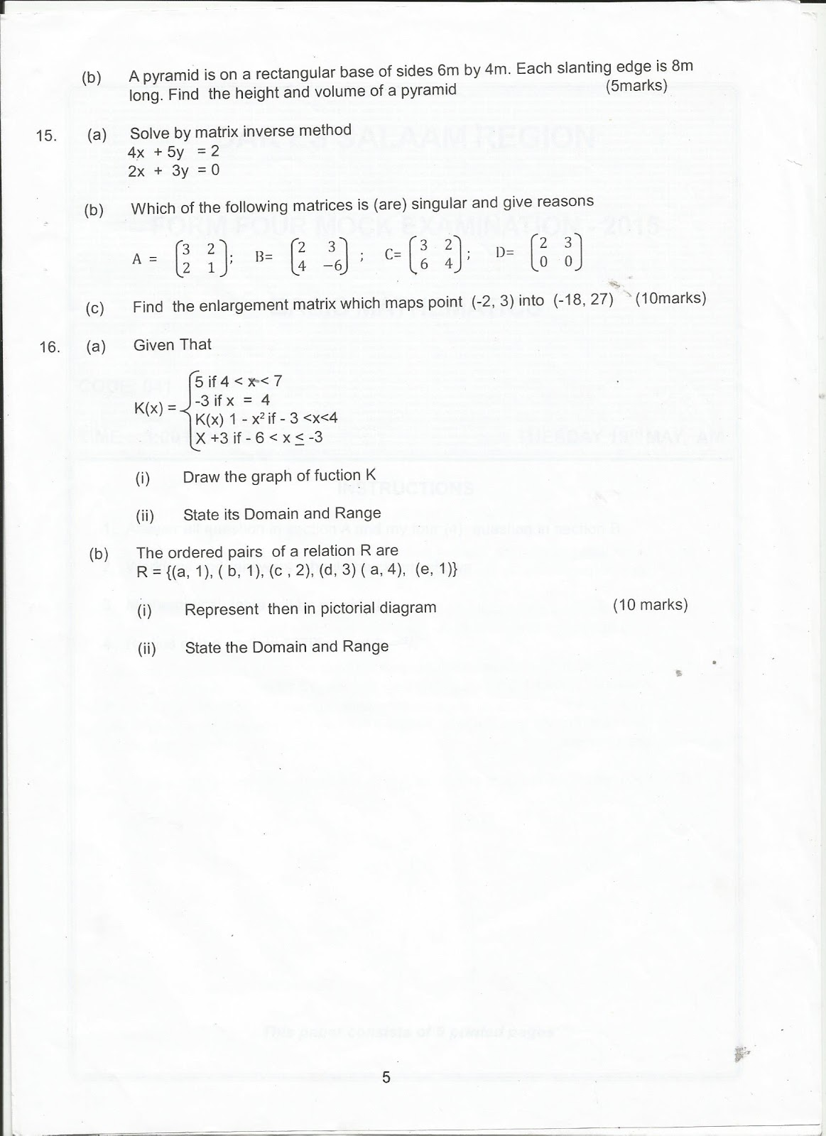 Mocks exams past paper corrections | College paper Sample