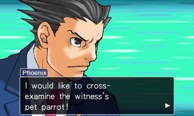Phoenix Wright Ace Attorney cross-examine the parrot Polly testifies Turnabout Goodbyes