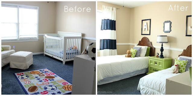 Boys' Bedroom Before and After