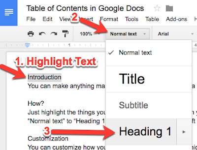 Google Docs: Insert Table of Contents