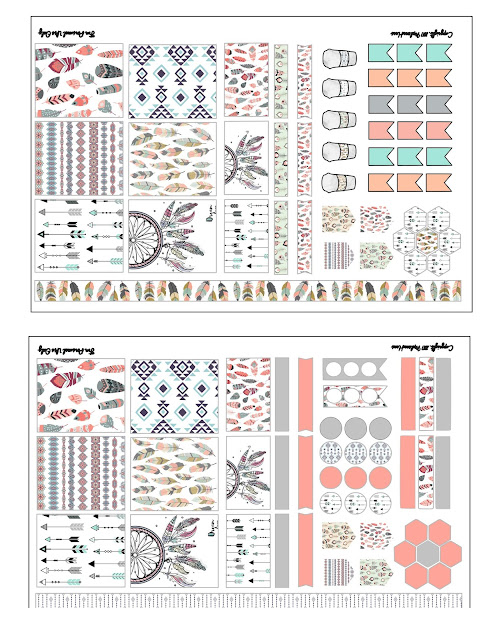 Free printable boho chic stickers for mini happy planner or personal size agenda