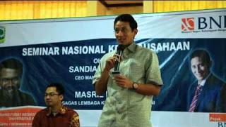 Sandiaga Uno menjadi pembicara di Seminar Kewirausahaan