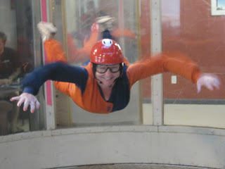 Clover Autrey flying in the Wind Tunnel