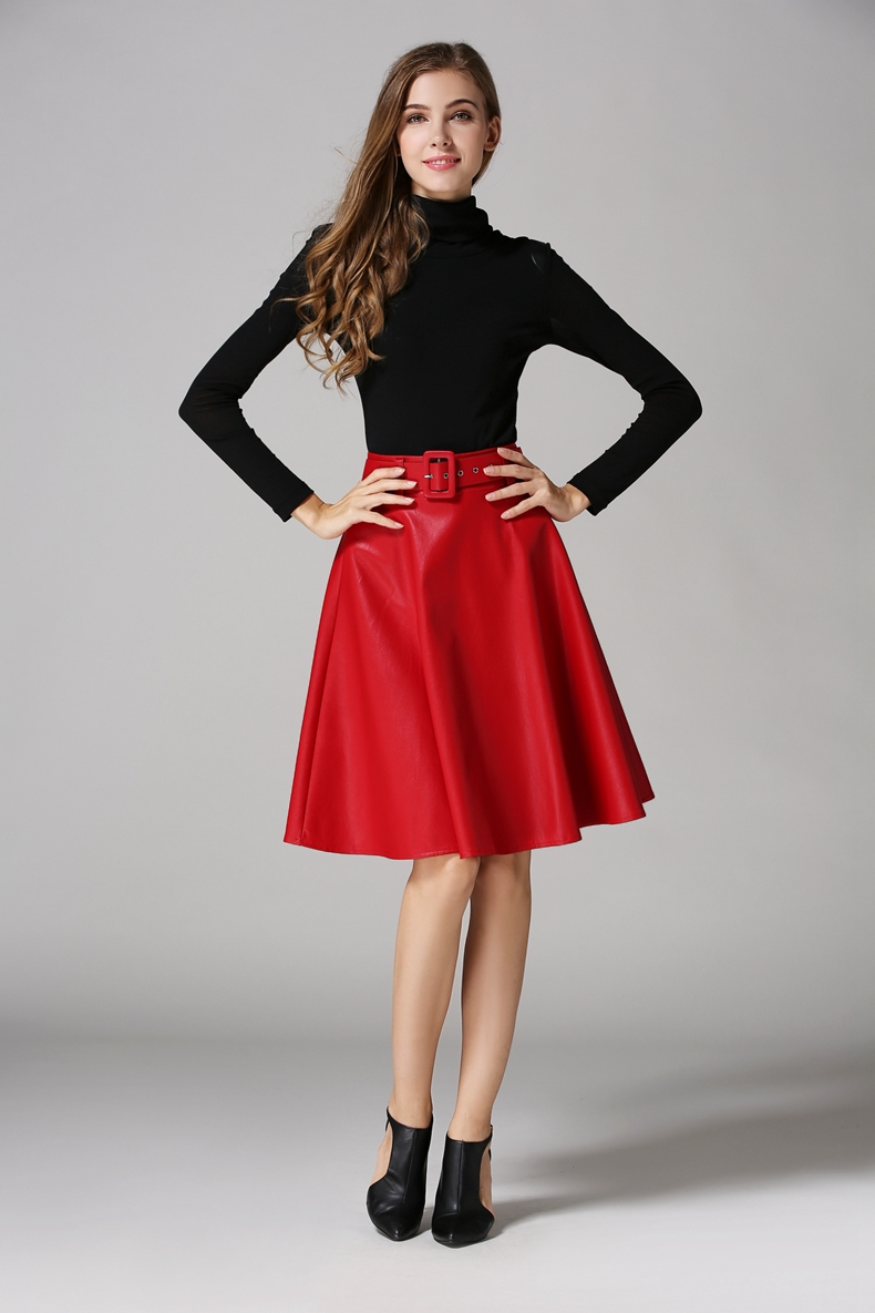 Red flare skirt ol going up stairs 5