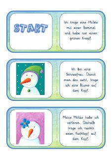 Lese-Domino Schneemänner