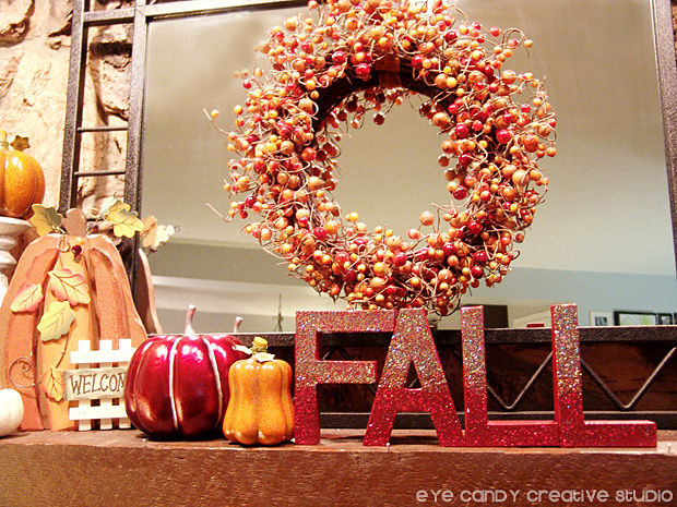 fall berry wreath, pumpkins, fall painted letters, fall mantel decor, fall